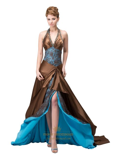 beaded halter prom dress brown and blue beaded halter neck prom dress with