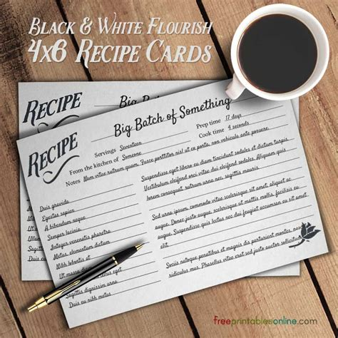 how to make a recipe card flourish black and white simple recipe cards free