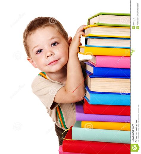 child picture book child holding stack of books royalty free stock images
