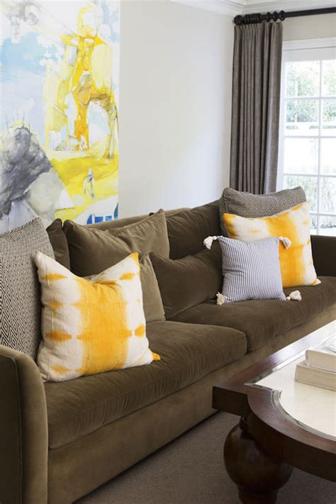 living room sofa pillows brown sofa with yellow pillows contemporary living room