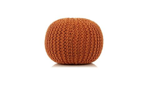 asda knitted pouffe george home knitted pouffe orange footstools pouffes