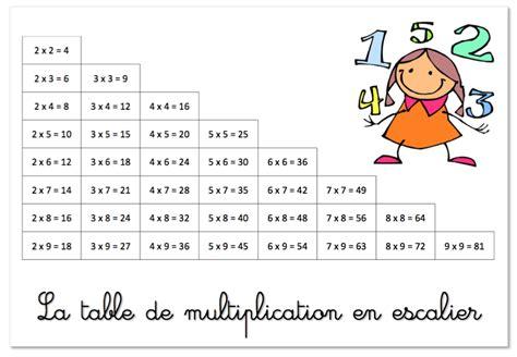 la table de multiplication en escalier crayons de soleil