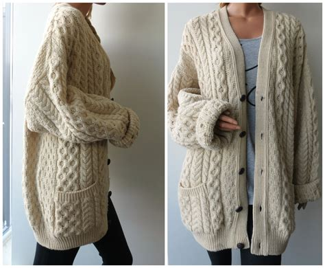 oversized cable knit cardigan store sale 80 s cable knit oversized fisherman