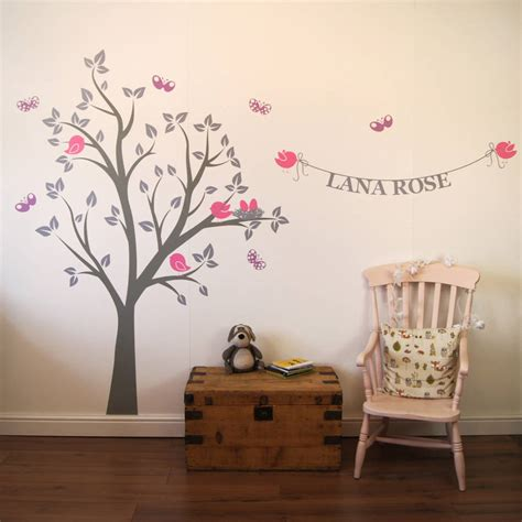 personalised wall stickers personalised bird s nest tree wall stickers by parkins