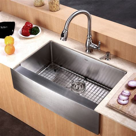 kitchen apron sinks kraus 30 inch farmhouse single bowl 16 stainless