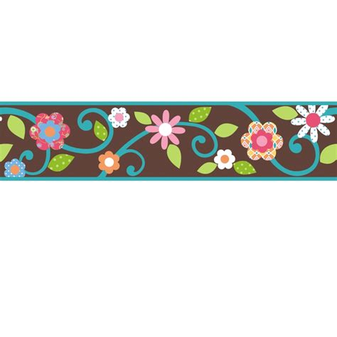 scroll floral wall sticker border brown teal stickers