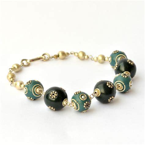 handmade bead bracelets handmade bracelet black blue studded with