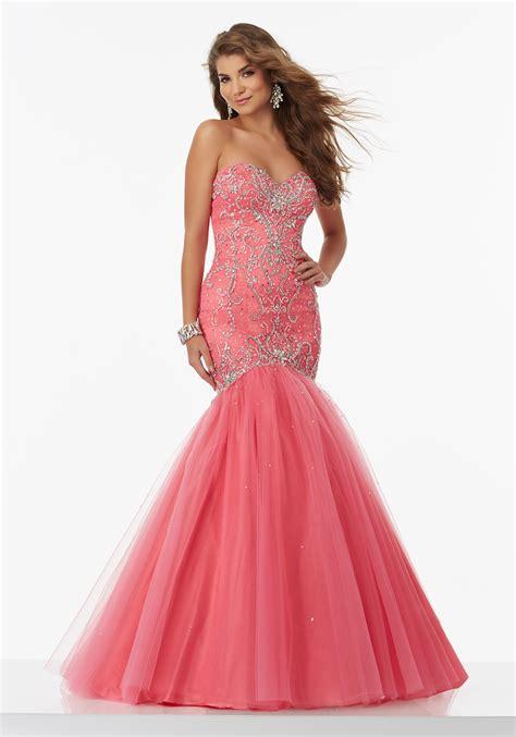 beaded mermaid prom dress inticately beaded tulle mermaid prom dress style 99132