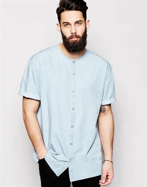 shirts with asos collarless oversized shirt in sleeve with drape