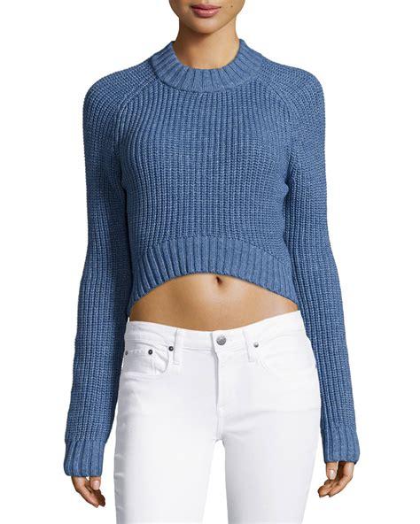 shaker knit sweater michael kors shaker knit crop sweater in blue lyst