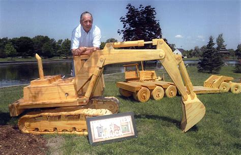 woodworking models 187 a yard of wooden construction equipment models in