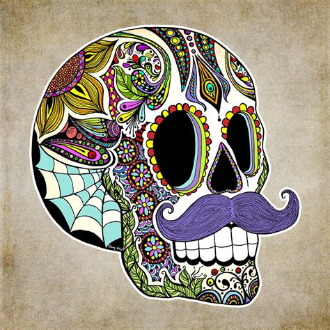 for sugar skull mustache sugar skull vintage style drawing by tammy wetzel