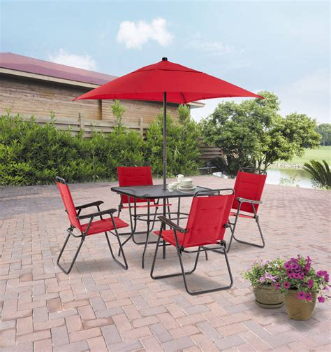 mainstays searcy 6 padded folding patio dining set mainstays searcy 6 padded folding patio dining