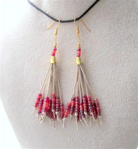 beaded tassels how to make hemp earrings seed bead tassel earrings beaded