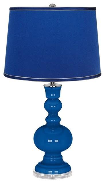 Designer Kitchen And Bathroom Magazine hyper blue satin dark blue shade apothecary table lamp