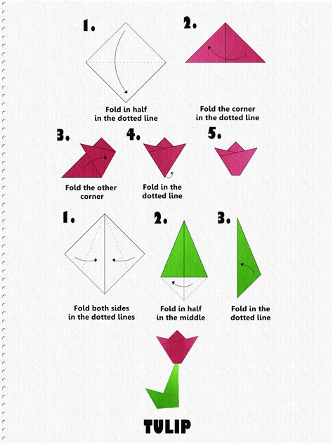 how to make easy origami flowers how to make an origami tulip step by step tutorial