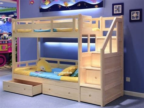 wood bunk bed with stairs bunk beds with stairs for varnished walnut wood bunk