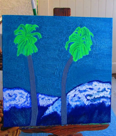 acrylic paint on canvas cracking painting the cracked sky on the palm tree and