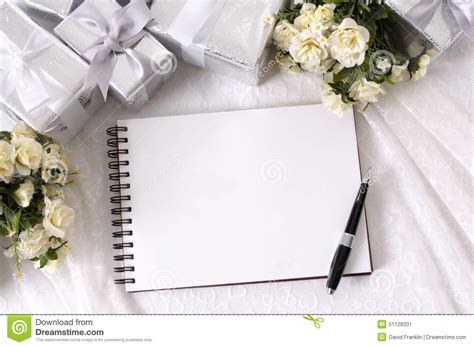 wedding album writing book background copy space stock