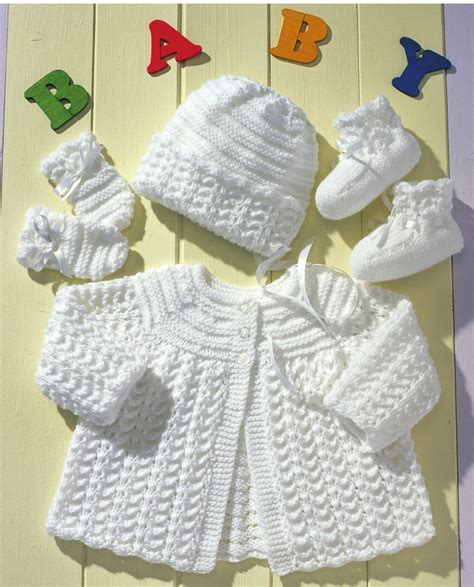 baby layette knitting patterns free matinee coat bonnet mittens and booties how to do easy
