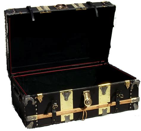 Antique Leather and Brass Steamer Trunk   Omero Home