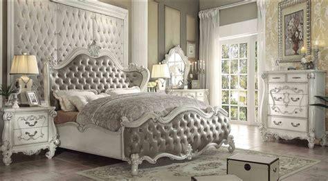 vintage bed set acme versailles bed upholstered vintage gray bone white