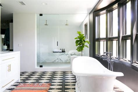 White Spa Bathroom by Black And White Spa Bathroom With Geometric Floor Hgtv