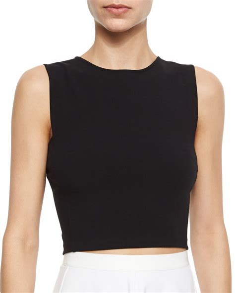 sleeveless knit top theory pagia sleeveless knit crop top in black lyst
