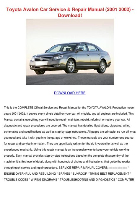 toyota avalon car service repair manual 2001 by louisakerr issuu