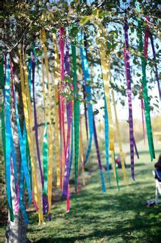 ribbon on the tree wedding decoration ribbon garlands from tree outdoor