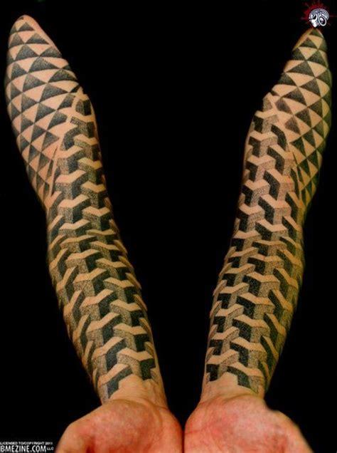 cool geometric pattern sleeve tattoos