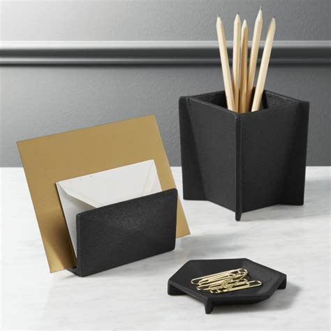 matte black desk accessories cb2