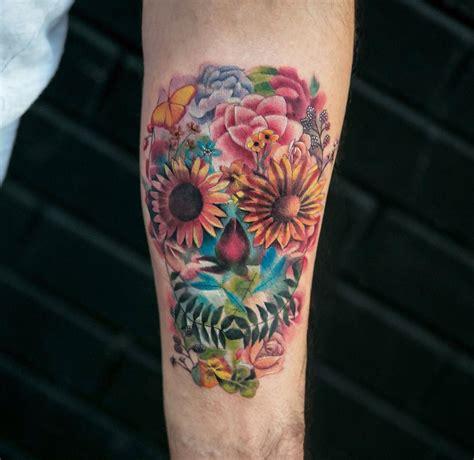 flower skull best tattoo design ideas