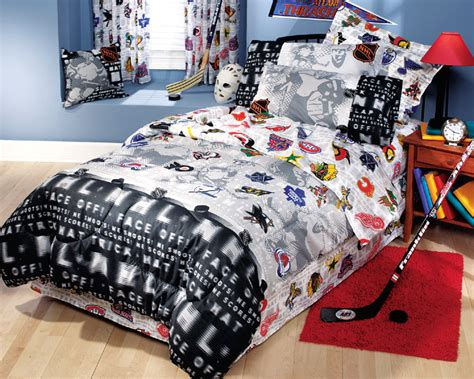 nhl hockey montage 3pc bed sheets set bedding