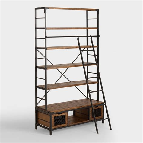 ladder for bookcase wood and metal bookcase with ladder world market
