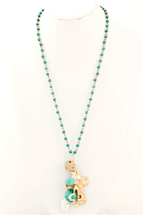 bead cross necklace semi precious beaded cross necklace necklaces
