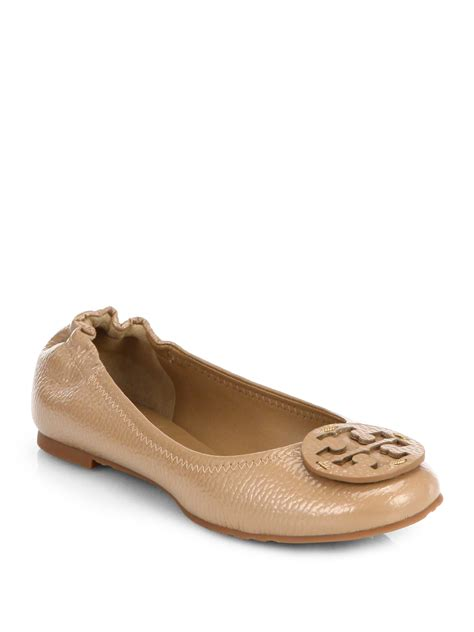 patent leather ballet flats burch reva tumbled patent leather ballet flats in beige clay beige lyst