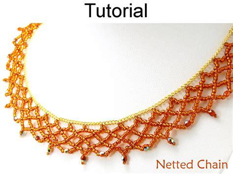 bead netting necklace beading tutorial pattern necklace netting stitch