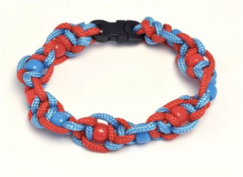 paracord bead knot twisted half sqaure knot paracord bracelet with plastic
