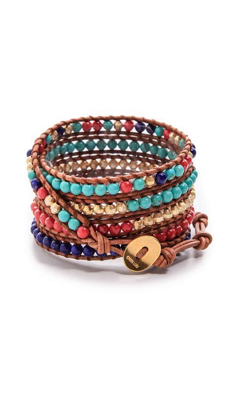 bead wrap bracelet chan luu multicolor beaded wrap bracelet lyst