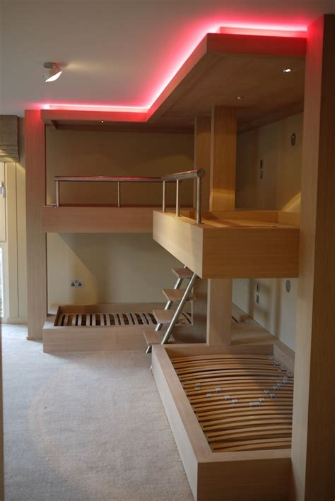 bunk bed lighting bespoke bunk beds in limed oak with integrated