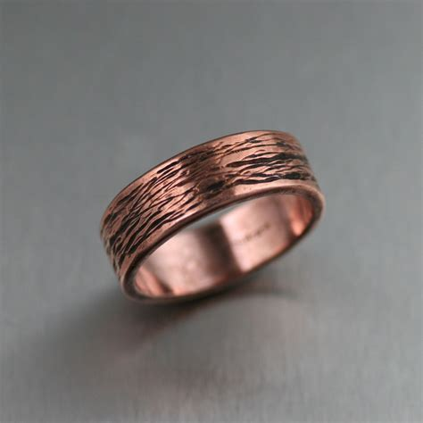 ring bands for jewelry copper bark band ring