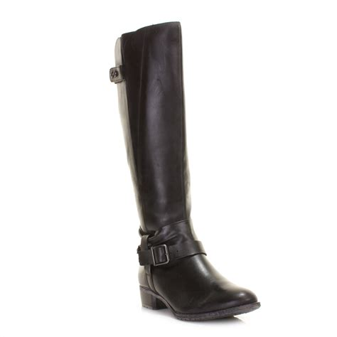 leather knee high boots for womens hush puppies black chamber leather knee high boots size 3 8 ebay
