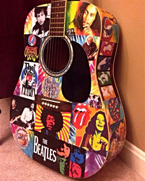 how to decoupage a guitar decoupage classic rock tie dye playable acoustic guitar