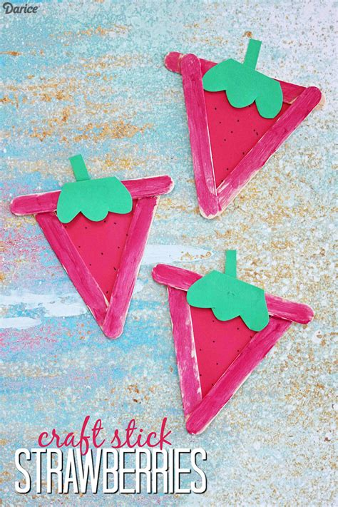 strawberry crafts for strawberry craft for tutorial with craft sticks darice