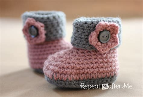 baby booties pattern crochet cuffed baby booties pattern repeat crafter me
