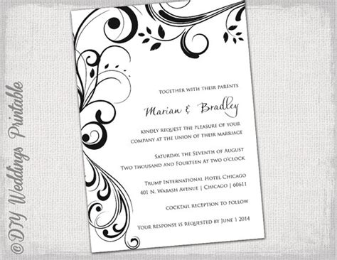 wedding invitation templates black and white quot scroll