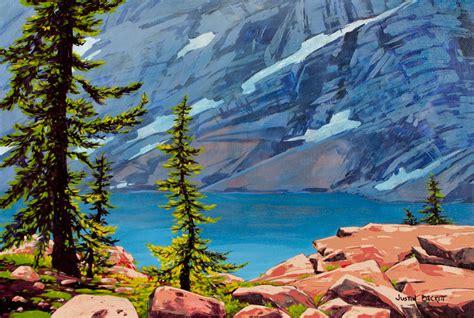 acrylic painting mountains low point thunder water lake bugaboos justin beckett