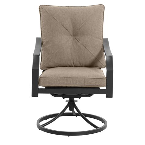 patio chairs with cushions shop garden treasures vinehaven 2 count brown steel swivel
