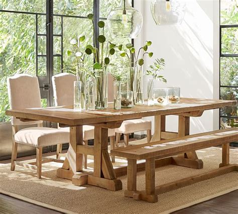 dining room table pottery barn stafford reclaimed pine extending dining table pottery barn